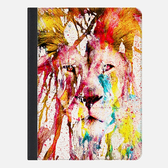 Wild Lion Sketch Abstract Watercolor Splatters