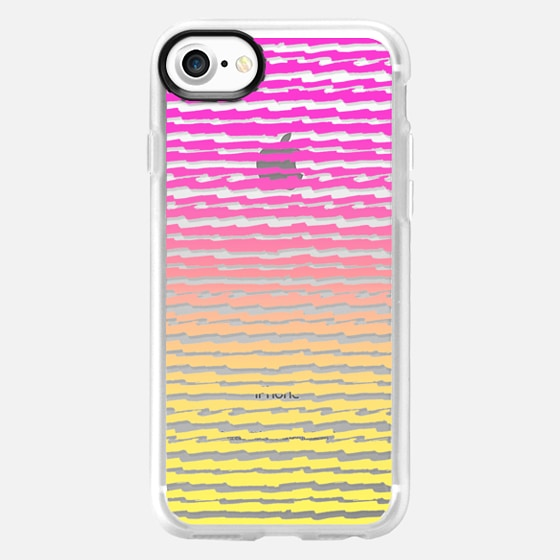 Neon Pink Yellow Ombre Abstract Stripes Pattern - Wallet Case