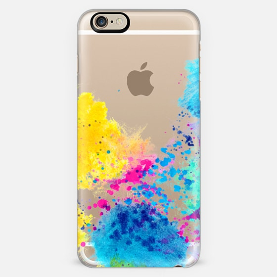 Blue Yellow Abstract Watercolor Neon Pink Splatter - Classic Snap Case