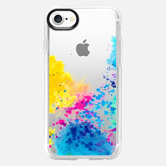 Blue Yellow Abstract Watercolor Neon Pink Splatter - Wallet Case