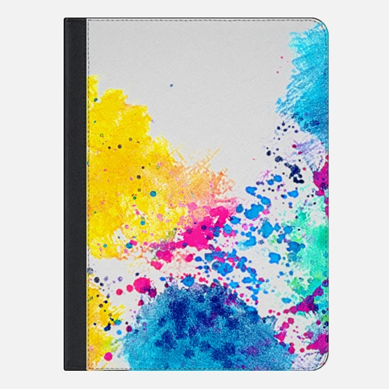 Blue Yellow Abstract Watercolor Neon Pink Splatter