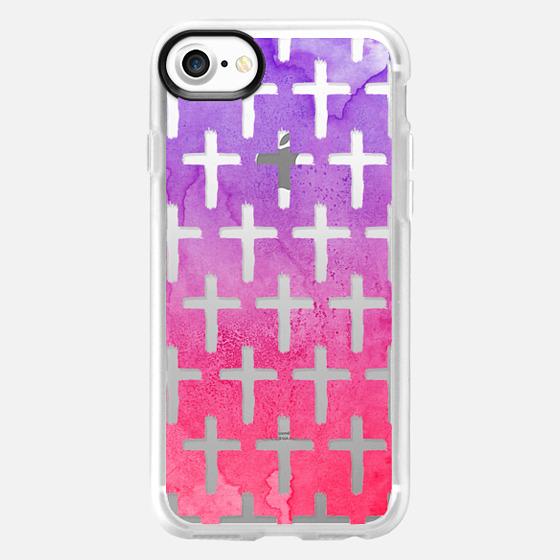 Cross Pattern Abstract Pink Purple Watercolor - Wallet Case