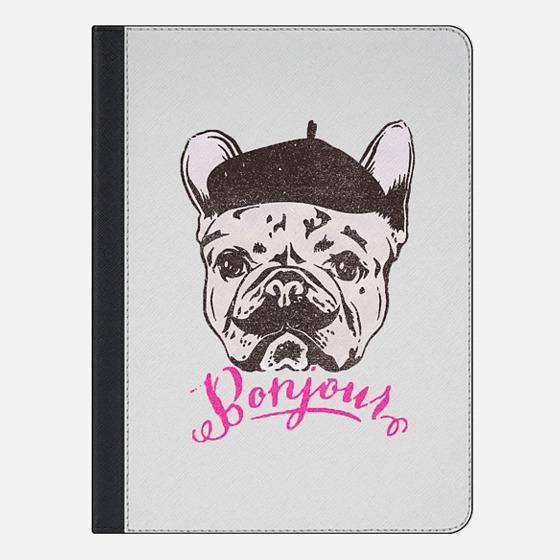 Funny Mustache French Bulldog Sketch Typography