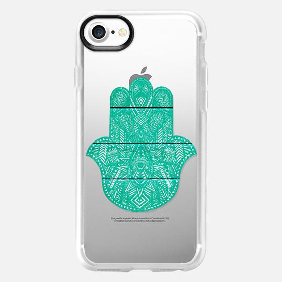 Hip Turquoise Hamsa Hand Henna Pattern Wood Stripe - Wallet Case