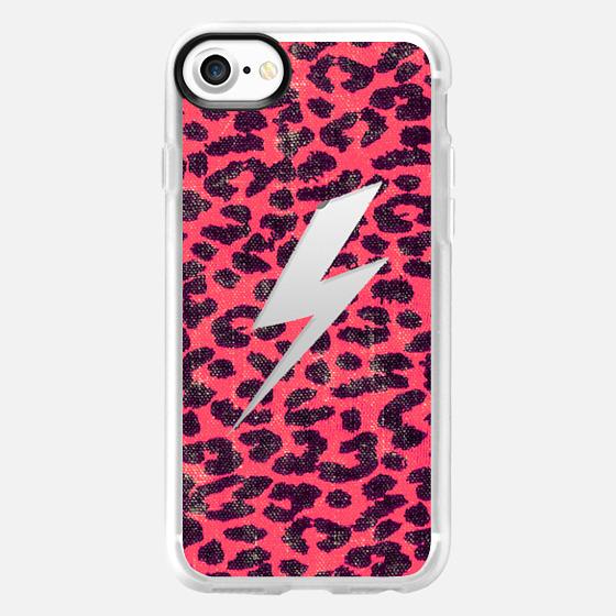 Hipster Neon Pink Leopard Pattern Thunder Strike - Wallet Case