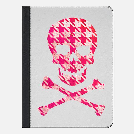 Hipster Sugar Skull Crossbones Pink Houndstooth