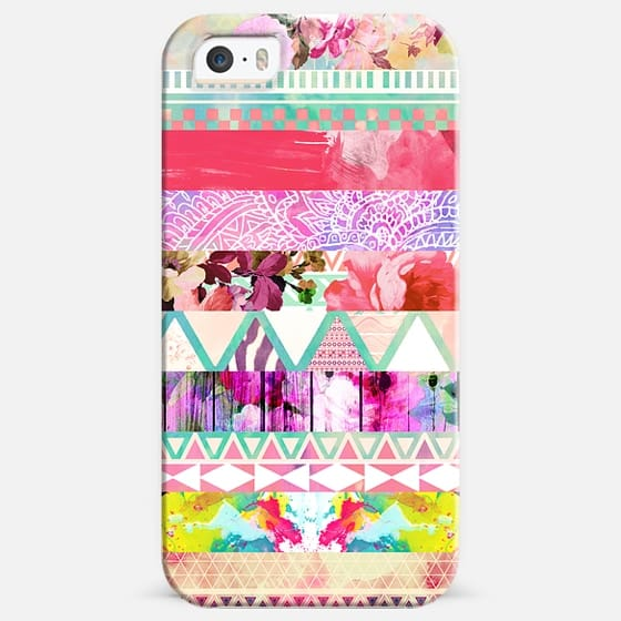 Pastel Abstract Floral Aztec Stripes Girly Pattern -