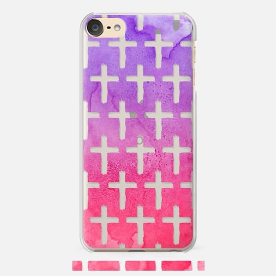 Cross Pattern Abstract Pink Purple Watercolor - Classic Snap Case