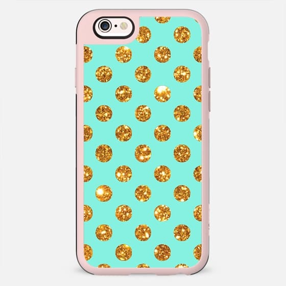 Chic Gold Glitter Polka Dots Pattern On Turquoise - New Standard Case
