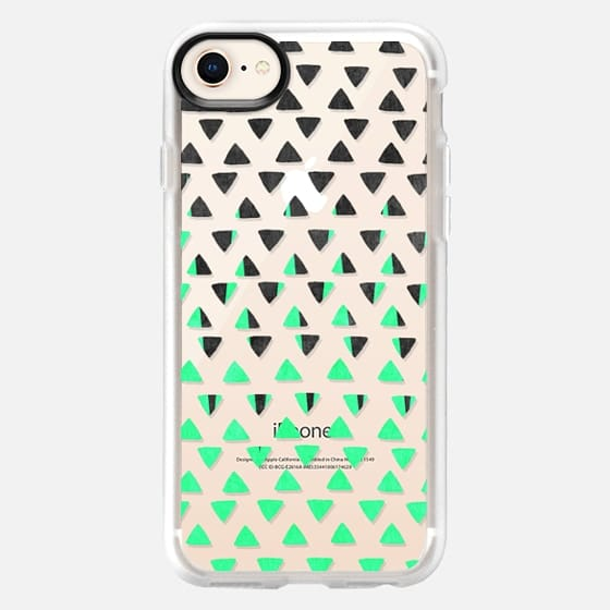 Modern Abstract Mint Green Black Triangles Pattern - Snap Case