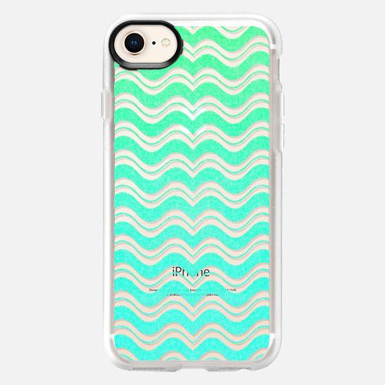 Aqua Mint Green Waves Chevron Abstract Pattern - Snap Case