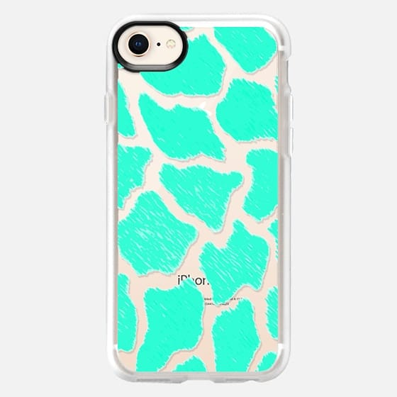Giraffe Print Pattern Teal Mint Green Ombre - Snap Case