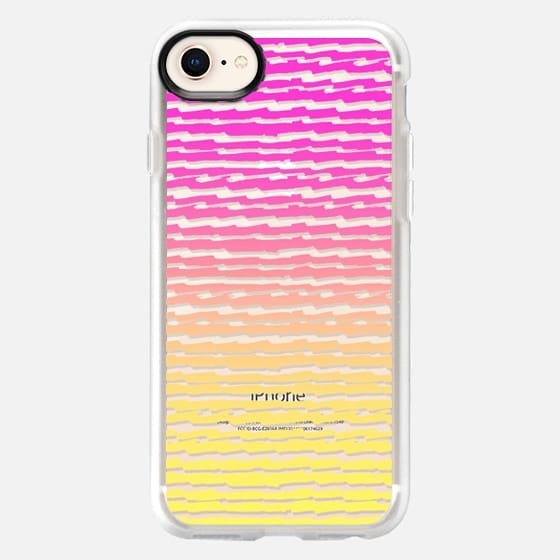 Neon Pink Yellow Ombre Abstract Stripes Pattern - Snap Case