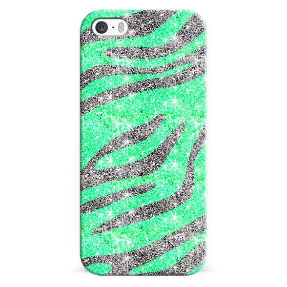 iPhone 6s Cases - Zebra Stripes Pattern Black Mint Green Glitter