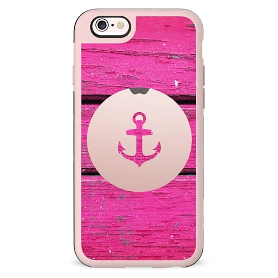 Girly White Nautical Anchor Hipster Pink Wood
