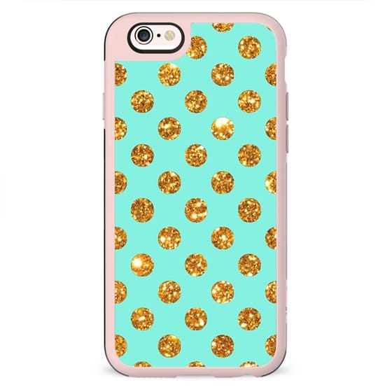 Chic Gold Glitter Polka Dots Pattern On Turquoise