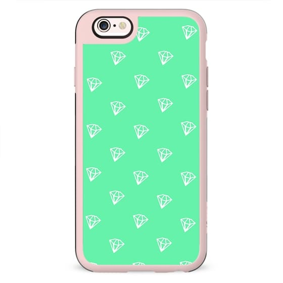Modern Diamonds Vector Pattern Trendy Mint Green