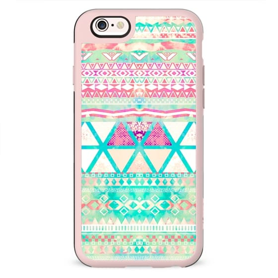 Pink Teal Aztec Pattern Triangles Girly Watercolor