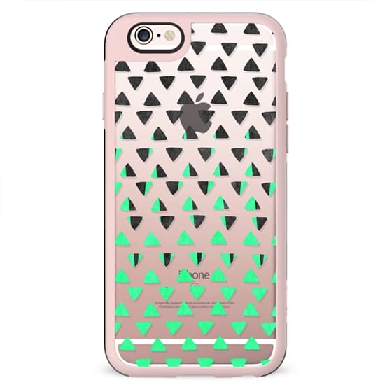 Modern Abstract Mint Green Black Triangles Pattern