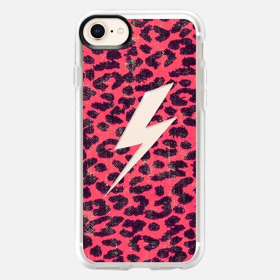Hipster Neon Pink Leopard Pattern Thunder Strike - Snap Case