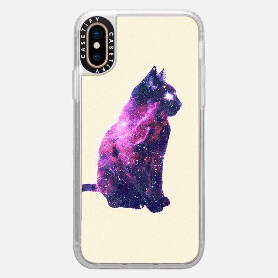 whimsical purple nebula cat pink galaxy stars casetify