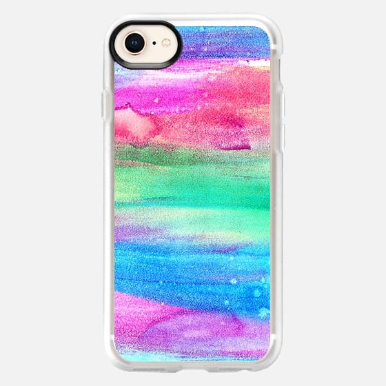 Neon Rainbow Abstract Watercolor Stripes - Snap Case