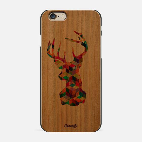 Hipster Vintage Deer Head Patchwork Stripes -