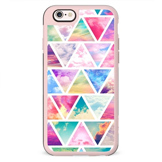 Pink Teal Clouds Purple Skyscape Triangles Pattern