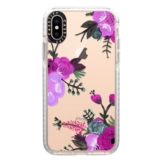 iPhone XS Cases - Purple Painted Floral