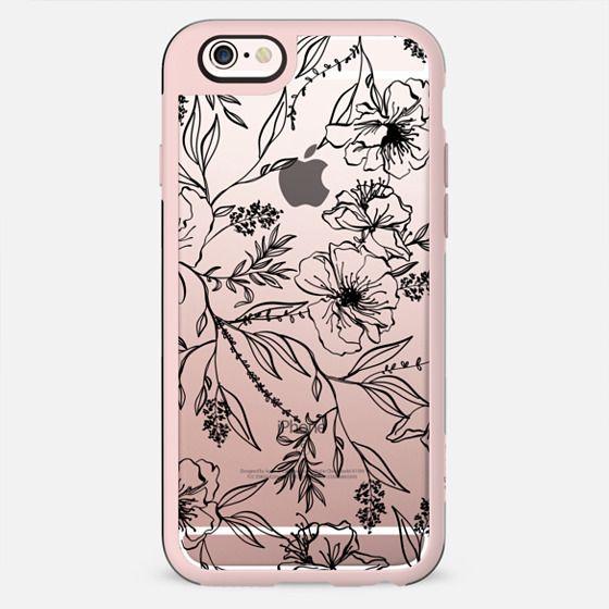 Floral Transparent Pattern - Black - New Standard Case