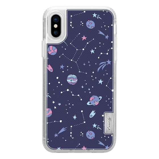 iPhone X Cases - Shooting Star Pattern in Purple