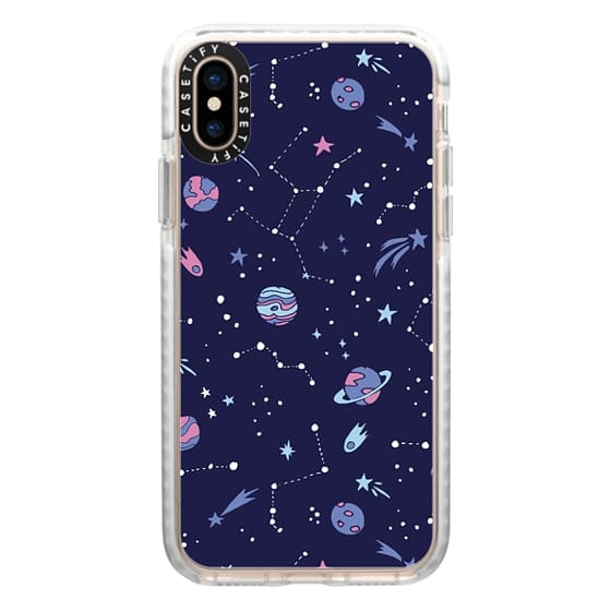 iPhone XS Cases - Shooting Star Pattern in Purple