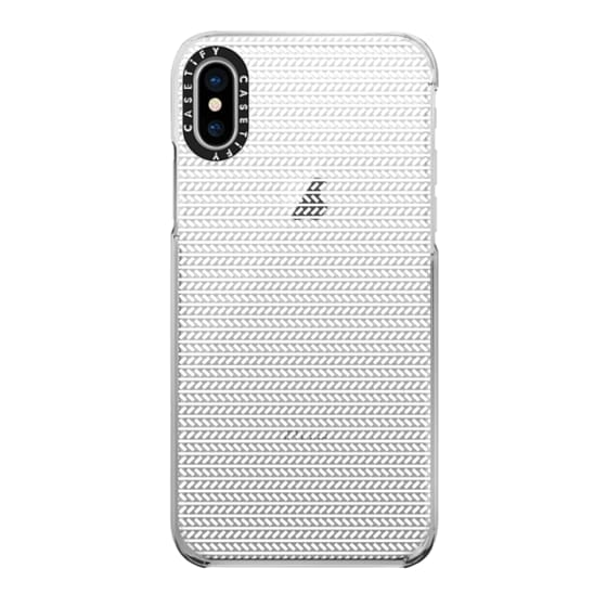 iPhone X Cases - White Herringbone