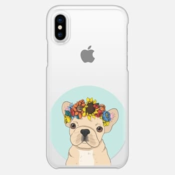 iPhone X Case Floral Frenchie (Fawn)