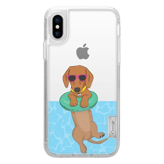 iPhone X Cases - Swimming Dachshund