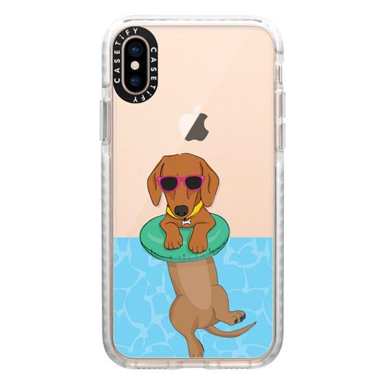 iPhone XS Cases - Swimming Dachshund