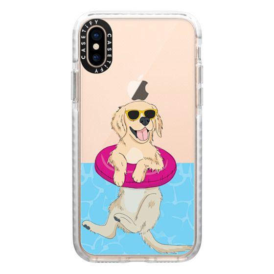 iPhone XS Cases - Swimming Golden Retriever