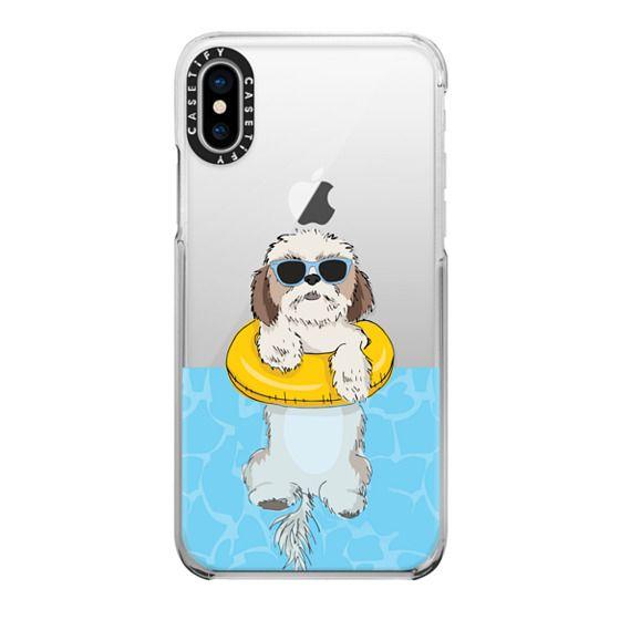iPhone X Cases - Swimming Shih Tzu