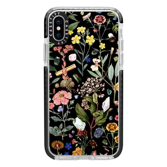 iPhone X Cases - iPhone X Case - Clear iPhone X Protective Case | Military Grade Phone Case | Black | Flower Botanical Plant Leaf Floral Crystal Gemstone Natu