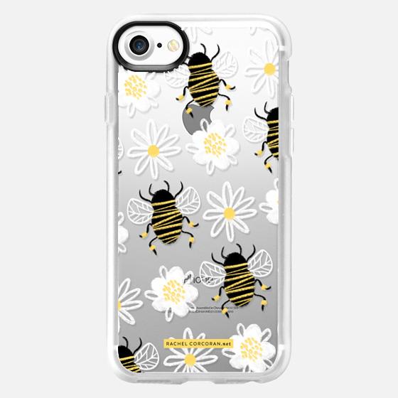 Cute Honey Bee Daisy Flower Nature Yellow Black White Pattern Rachillustrates Rachel Corcoran   - Classic Grip Case