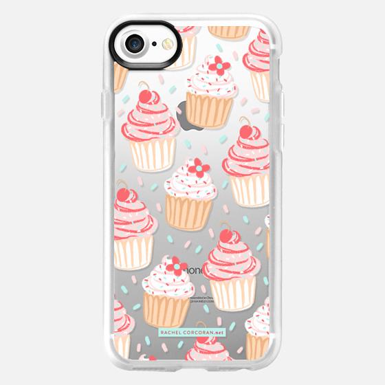 Cupcakes Cake Candy Sweet Cherry Baking Food Dessert Confetti Cute Pink Red Pattern Rachillustrates Rachel Corcoran   - Wallet Case