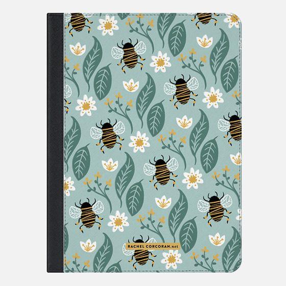 Honey Bee Wildflower Pattern Botanical Floral Flowers Green Nature Rachillustrates Rachel Corcoran - iPad Folio Case