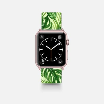 Apple Watch Band (42mm)  Tropical Palm Leaves Pattern Exotic Wild Festival Green Nature Floral by Rachel Corcoran Rachillustrates