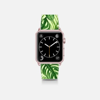 Apple Watch Band (38mm)  Tropical Palm Leaves Pattern Exotic Wild Festival Green Nature Floral by Rachel Corcoran Rachillustrates