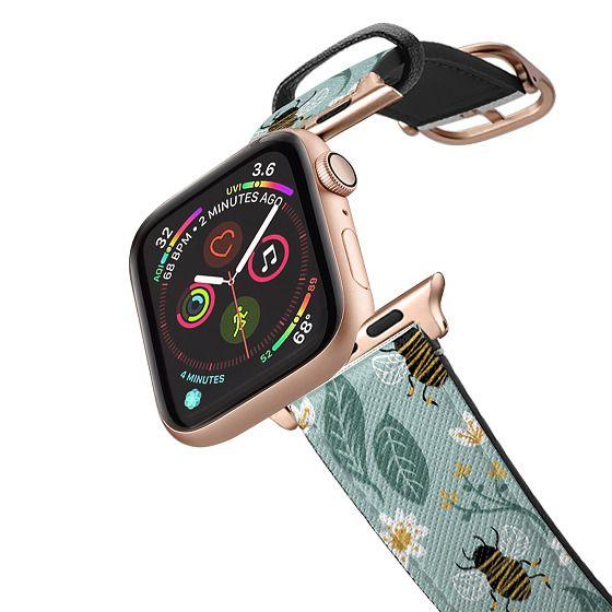 Apple Watch 42mm Bands - Honey Bee Wildflower Pattern Botanical Floral Flowers Green Nature Rachillustrates Rachel Corcoran