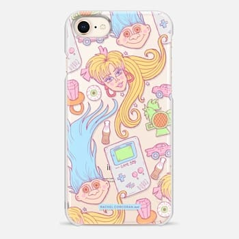 iPhone 8 Case 1990s Barbie Game Boy Candy Sweets Troll Throwback Pattern Rachillustrates Rachel Corcoran