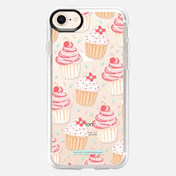 Cupcakes Cake Candy Sweet Cherry Baking Food Dessert Confetti Cute Pink Red Pattern Rachillustrates Rachel Corcoran   - Snap Case
