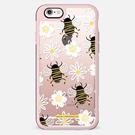 Cute Honey Bee Daisy Flower Nature Yellow Black White Pattern Rachillustrates Rachel Corcoran   - New Standard Case