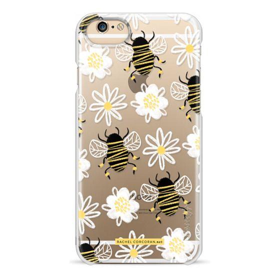 iPhone 6s Cases - Cute Honey Bee Daisy Flower Nature Yellow Black White Pattern Rachillustrates Rachel Corcoran