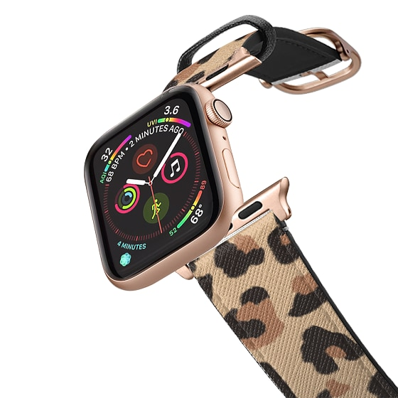 CASETiFY Apple Watch Band (42mm/44mm) Saffiano Leather Watchband V4 - Leopard Print Animal Pattern F